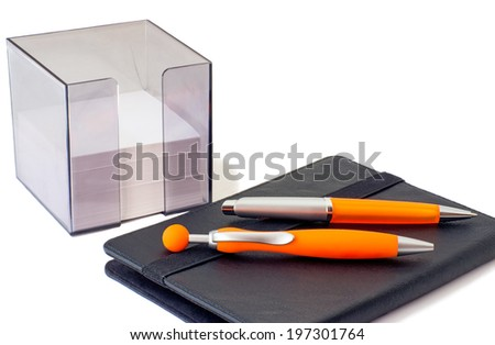 Two handles of bright orange color for the letter, a notebook and scratch paper in the container. Are presented on a white background.