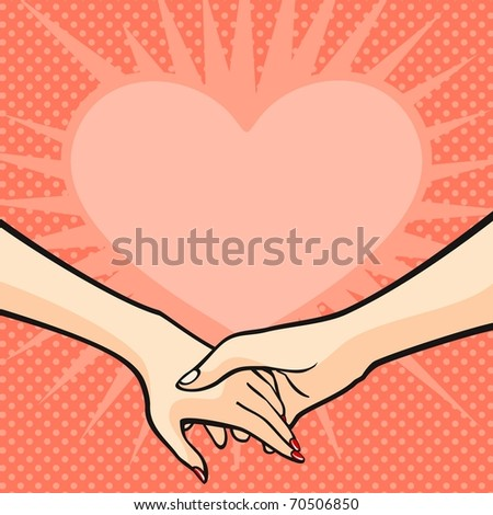 Two hands and a heart (raster version) - stock photo
