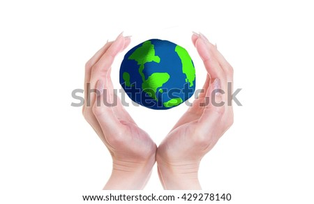 Two hands are protecting Earth on white isolate background