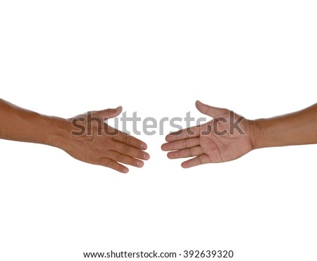 Two hands before handshake isolated on white background - stock photo