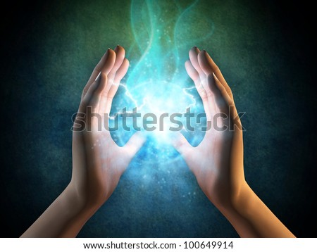 Two hands creating an energy sphere. Digital illustration. - stock photo