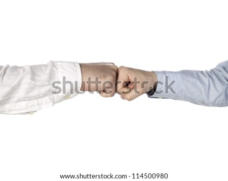 two hands doing a fist bump - stock photo