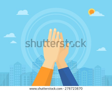 Two hands giving a high five for great work - stock photo