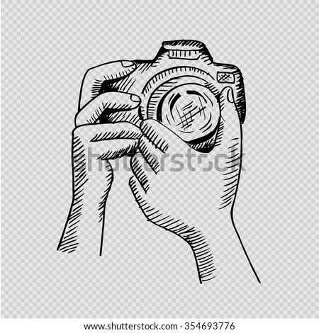 Two Hands Holding Camera Hand Drawing Stock Illustration 354693776 ...