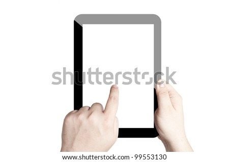 Two hands holding and point on digital tablet with white screen. Isolated on white background - stock photo