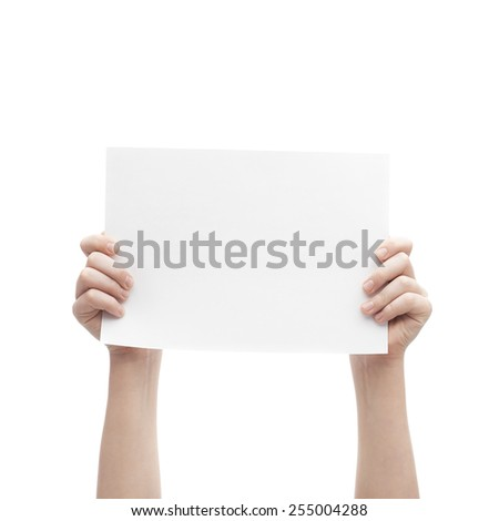 Two hands holding empty copyspace A4 sheet of white paper, composition isolated over the white background - stock photo