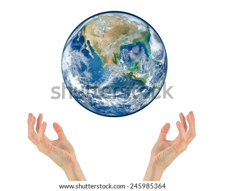 Two hands holding planet earth isolated on white NASA - stock photo