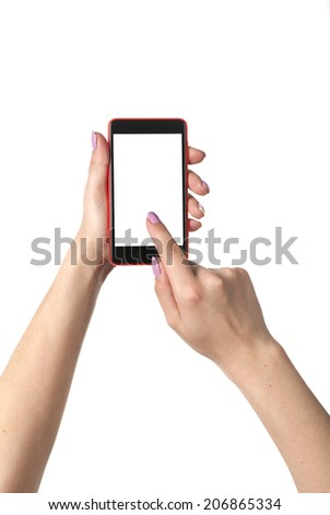 Two hands holding smartphones on the isolated background - stock photo