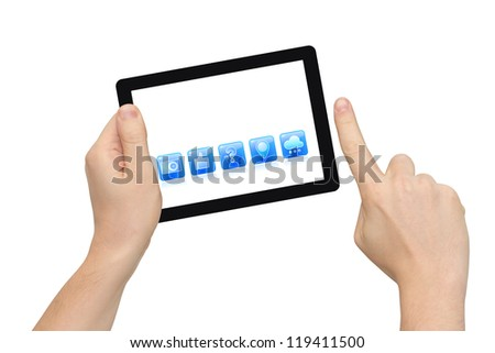 Two hands holding tablet PC, right hand zooming cloud icon, isolated on white, clipping path