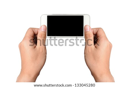 Two hands holding white smart phone, playing games, clipping path - stock photo