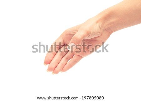 Two hands isolated on a white background - stock photo