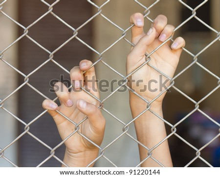 two hands of a man are grabbing mesh cage - stock photo