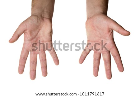 Two hands of a young man isolated on white background