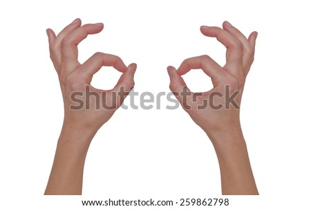 Two hands on a white background symbolizing OK