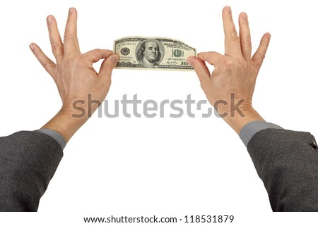 Two Hands Pinch and Stretch a 100 Dollar Bill isolated on white