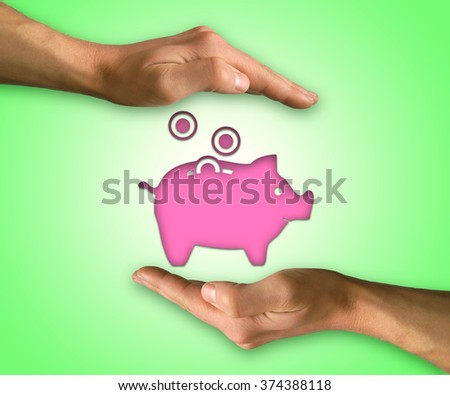 Two hands protecting piggy bank icon. Saving protect concept - stock photo