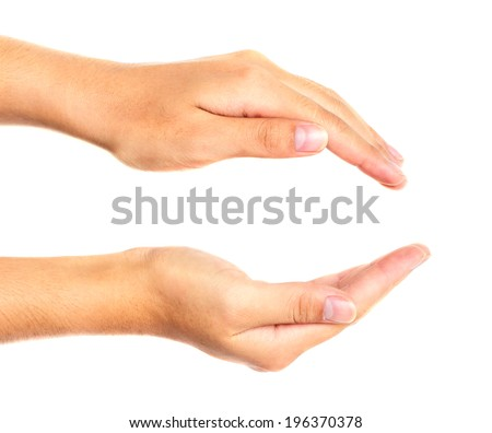 Two hands protecting something isolated on white. - stock photo