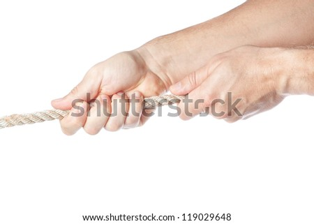 Two hands pulling a rope. On a white background. - stock photo