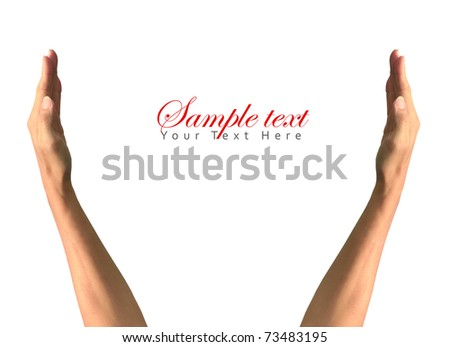 Two Hands quote text - stock photo