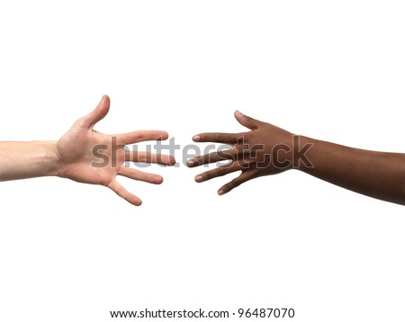 Two hands reaching each other