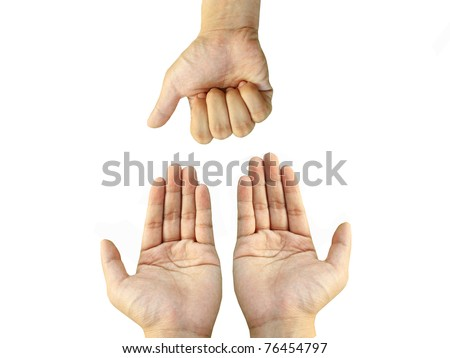 Two hands request something from one stranglehold - stock photo