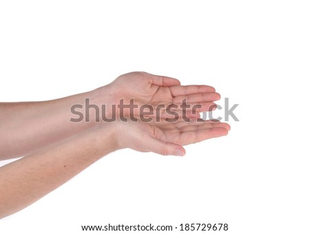 Two hands show something. Isolated on a white background. - stock photo
