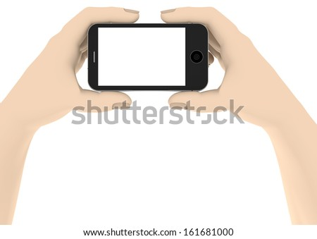 two hands with a phone with white display