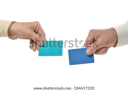 Two Hands with blank cards isolated on white background