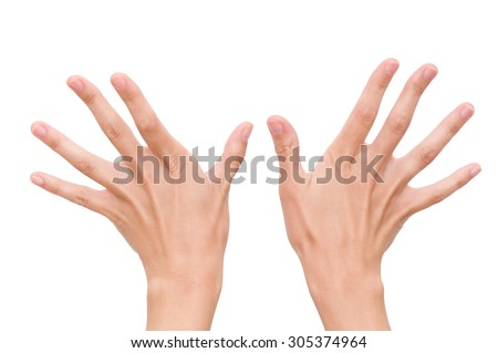 two hands with fingers spread on a white background