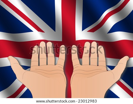 two hands with palms facing upwards and rippled British flag