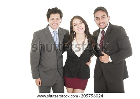 two handsome businessmen and a businesswoman in suits posing happy hugging