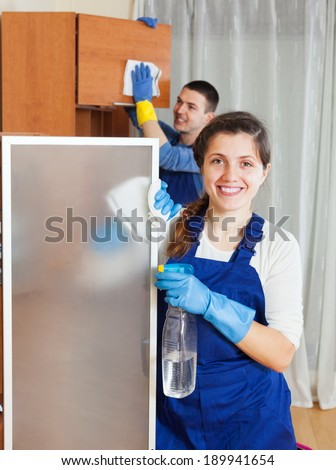 Two handsome cleaners cleaning furniture in room - stock photo