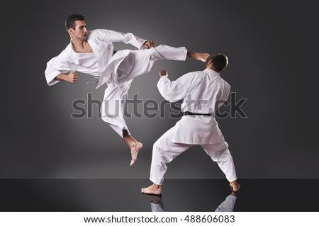 two handsome young male karate fighting stock photo edit now