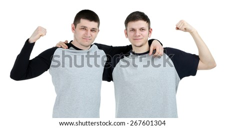 Two handsome young men isolated on white - stock photo