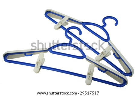 Two  hangers on a white background