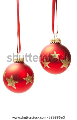 two hanging red dull christmas balls isolated on white background - stock photo