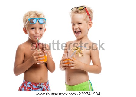 Two happy boys in sunglasses standing together, isolated on white - stock photo