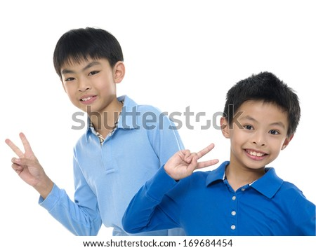 two happy brothers - stock photo