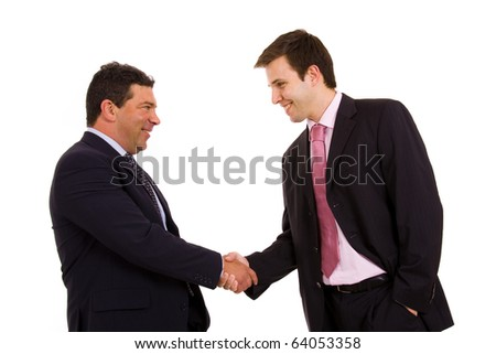 Two happy business man shaking hands over a white background