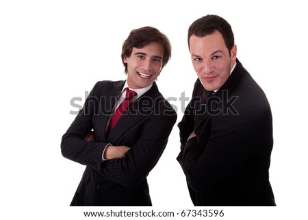 two happy businessmen, isolated on white background, studio shot - stock photo