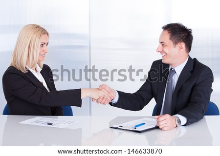 Two Happy Businesspeople In Office Shaking Hands - stock photo