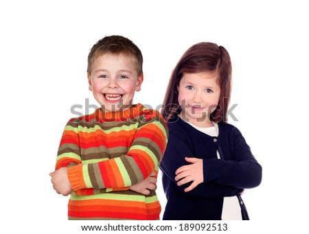 Two happy children isolated on a white background