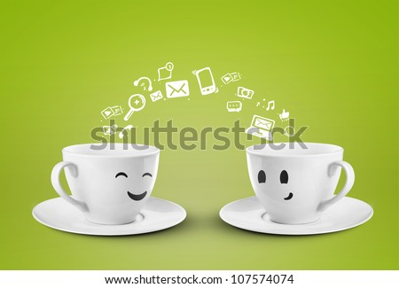 two happy cups, social media symbol - stock photo