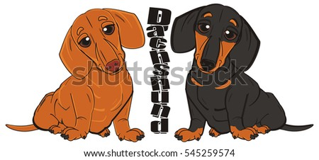 two happy  dachshunds with black word  dachshund