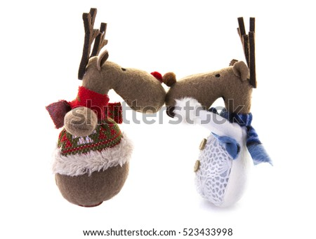Two Happy festive reindeer on a white background
