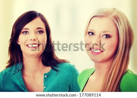 Two happy girls - stock photo