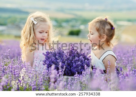 two happy girls in lavender field - stock photo