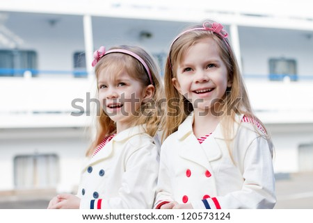 two happy girls in port - stock photo