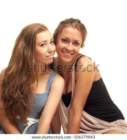 two happy girls on white background