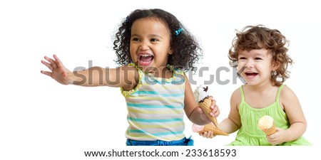 Two happy kids eating ice cream on white